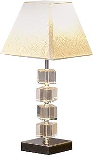 HOMCOM Lampe en Cristal - Lampe de Table Design Contemporain - Ø 20 x 47H cm - Abat-Jour Polyester Blanc Beige
