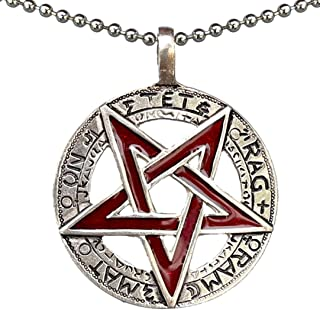 Celtic Pagan Wiccan Jewelry Tetragrammaton Inverted Pentagram Star Pentacle Red Men's Pendant Necklace Protection Amulet M...