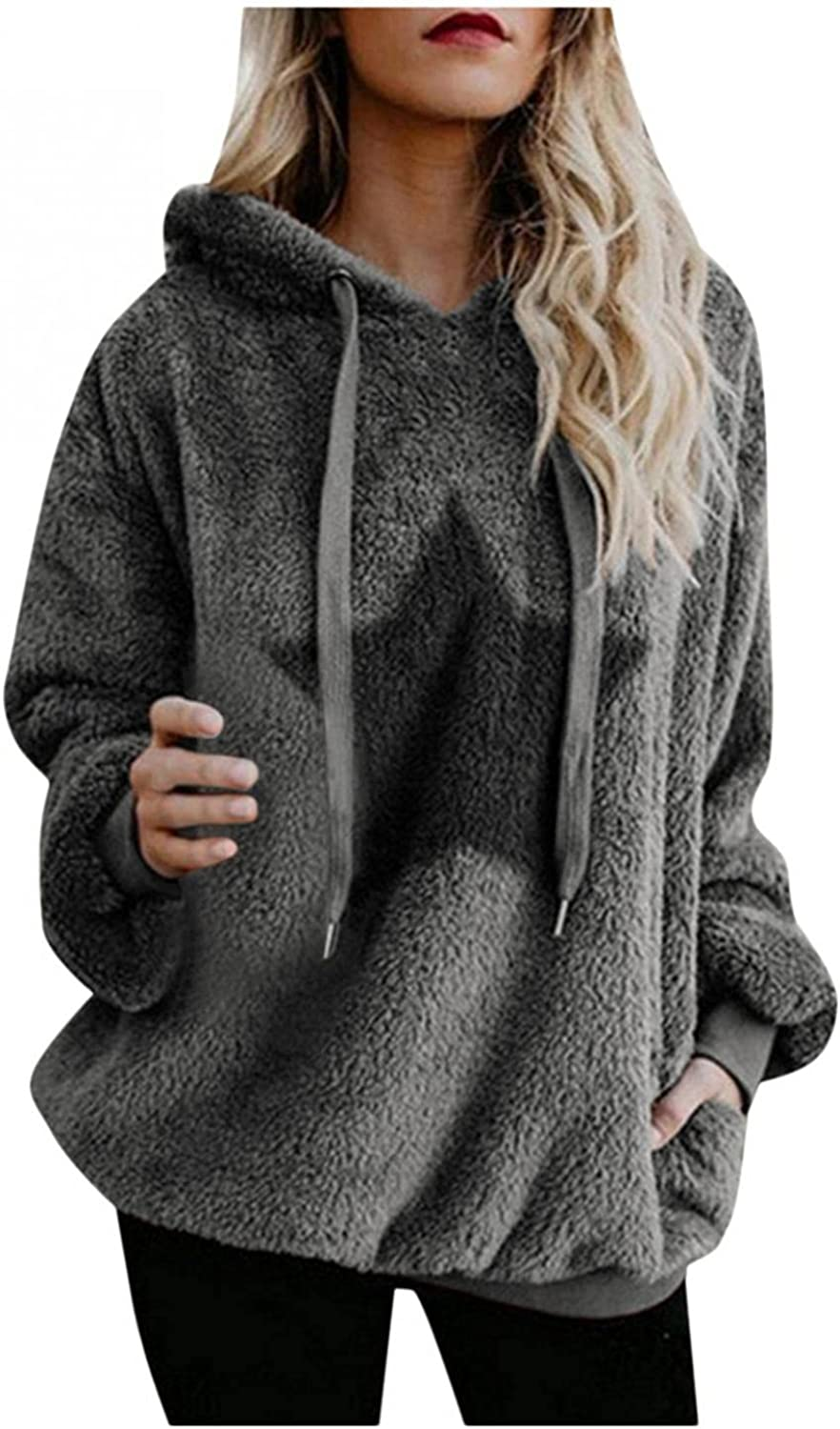 Womens Fleece Pullover Oversized Fuzzy Fleece Hooded Sweatshirts with Pockets Fashion Casual Printed Drawstring Hoodie