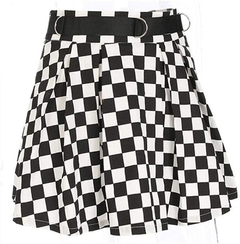 Ladies Plaid Pleated Skirt High Waist Belt Short Mini Skirt Casual Korean Harajuku Skirt