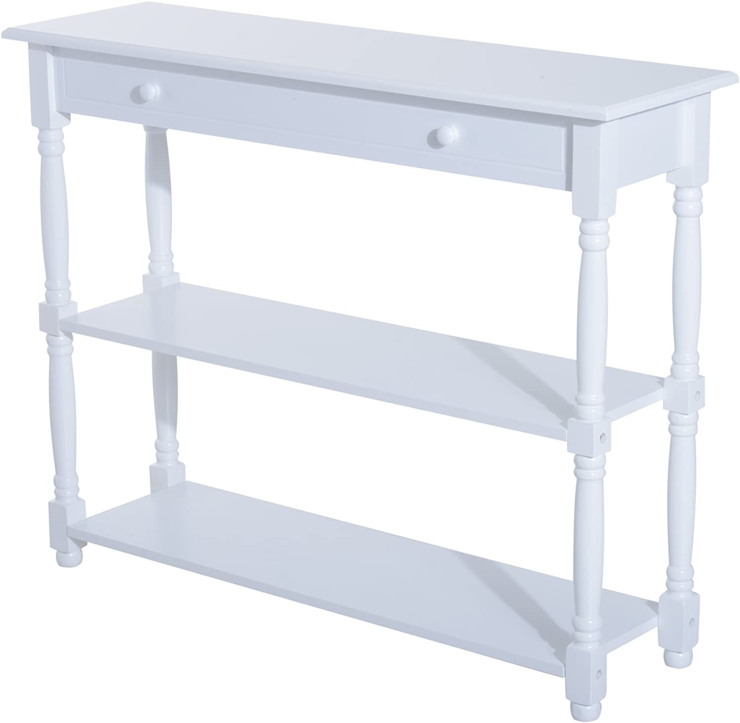 Festnight Entryway Accent Console Sofa Table Pine Wood, White
