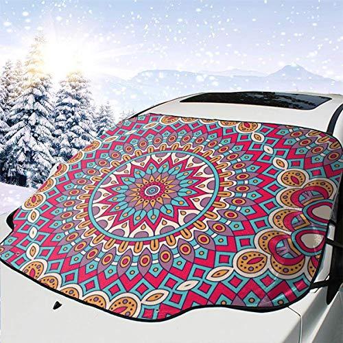 Vintage Dekorative Elemente marokkanische Ottomanen-Motive Auto Schnee Abdeckung Frost Sonne Windschutz Sonnenschutz Wasserdicht Winter Sommer Auto für Auto LKW Van und SUV
