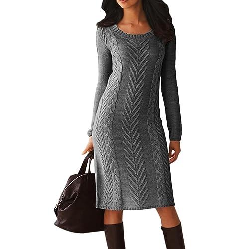 25189c6e5e0 Dearlove Women s Long Sleeve Crew Neck Slim Knit Sweater Bodycon Midi Dress