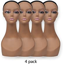 Pack of 4 Pcs Female Black Plastic Mannequin Head Bust Realistic Wig Display Head PD3R-24