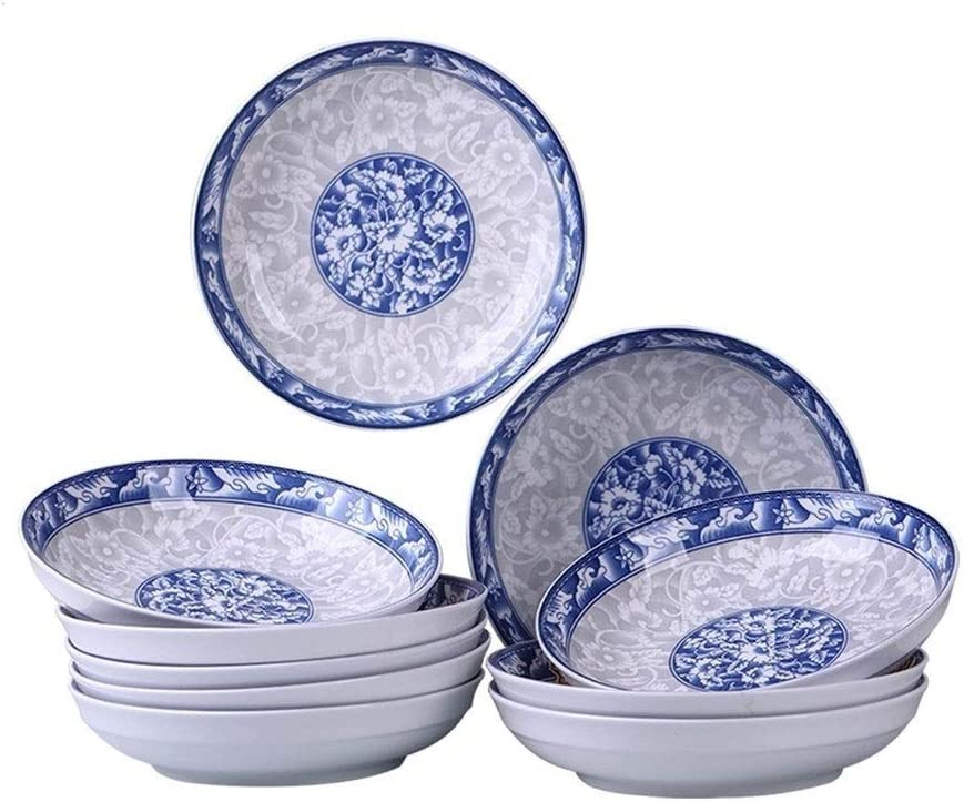 JXXXJS Household 10 Dishes Gifts Suit Blue-and-White Creative Online limited product Dish Fan