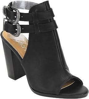 769f7ed71e Betani Jillian-10 Women s Peep Toe Buckle Strap Chunky Stacked Heel Ankle  Booties