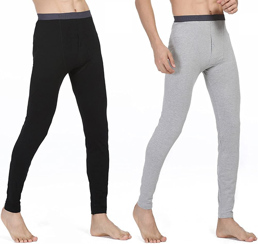 IVYRISE 2 Pack Mens Longjohns Thermal Underwear Cotton Basic Layer Light Weight Warm Bottom, Size from Large to XXXLarge