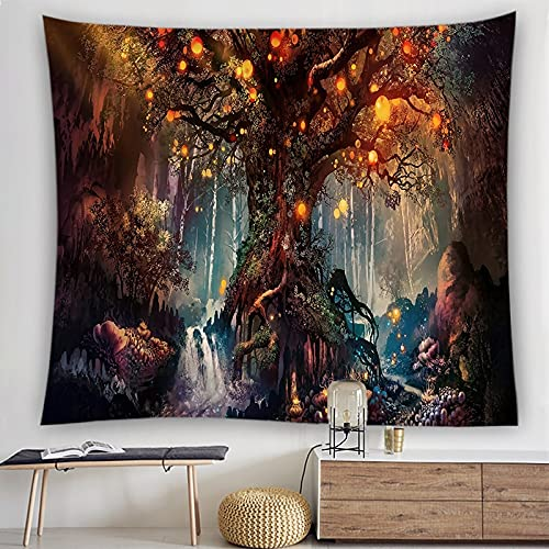 KHKJ Tapiz de árbol de Hongo mágico Tapiz de Arte Tapiz de Hongo con Fondo Fresco, Adecuado para Sala de Estar y Dormitorio A2 150x130cm