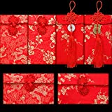 6 Pieces Silk Red Envelope Hong Bao Chinese Card Envelope Red Pocket Lucky Money for Spring Festival Wedding New Year Birthday, 3 Styles with Chinese Knot Jade Pendant Copper Coin (Traditional Style)
