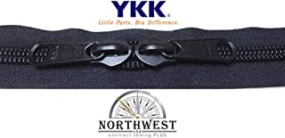 YKK #10 Zipper coil chain with 2 sliders per yard. MANY COLORS. Sold in 5-yard lots. Please see our other listing for size 5 & size 8 (5 yards & 10 black sliders, Black)