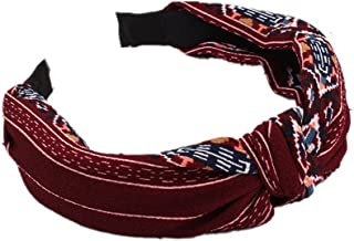 BIGBOBA Vintage Hairbands Floral Printed Twisted Elastic Headbands Women and Girls Hair Accessories Red Headbands