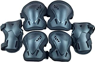 LIOOBO Kids Knee Pads Set 6 in 1 Kit Protective Gear Knee Elbow Pads Wrist Guards for Skateboard Biking Riding Cycling Rollerblading Black