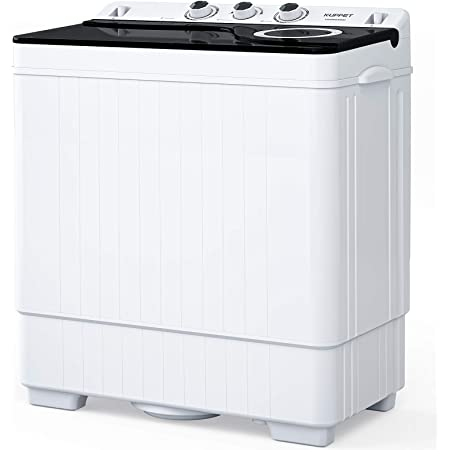 KUPPET Compact Twin Tub Portable Mini Washing Machine 26lbs Capacity, Washer(18lbs)&Spiner(8lbs)/Built-in Drain Pump/Semi-Automatic (White&Black)