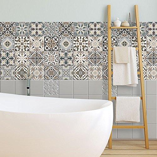 Adhesivo para Azulejos 10x10 cm - Adhesivo Decorativo para Azulejos para baño y Cocina - Stickers Azulejos - Collage de Azulejos