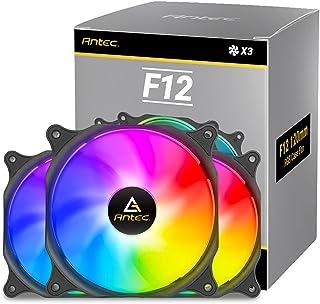 Antec Ventola Case RGB da 120 mm, Ventola PC RGB ad Alte Prestazioni, RGB a 4 Pin, Serie F12, 3 Confezioni