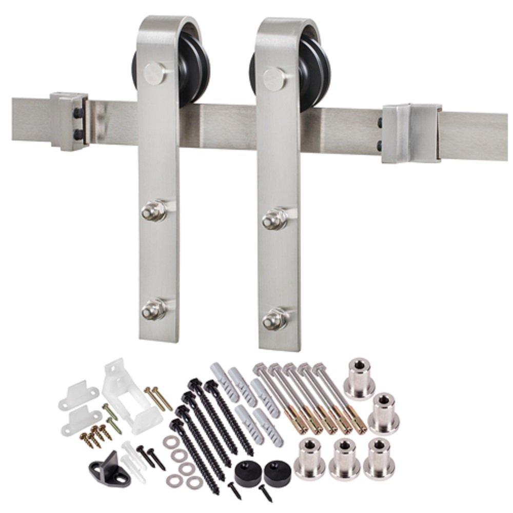 Molded 2-Panel Planked Primed Barn Door Unit National Door Company ZZ364308 Solid Core