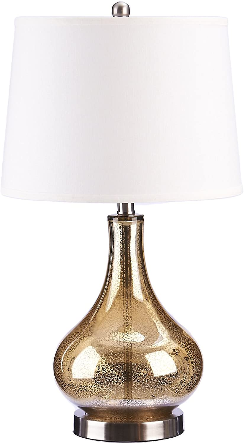 Catalina Lighting 19560-004 Transitional 3-Way Glass Gourd Table Lamp with Linen Shade 25  gold Discontinued