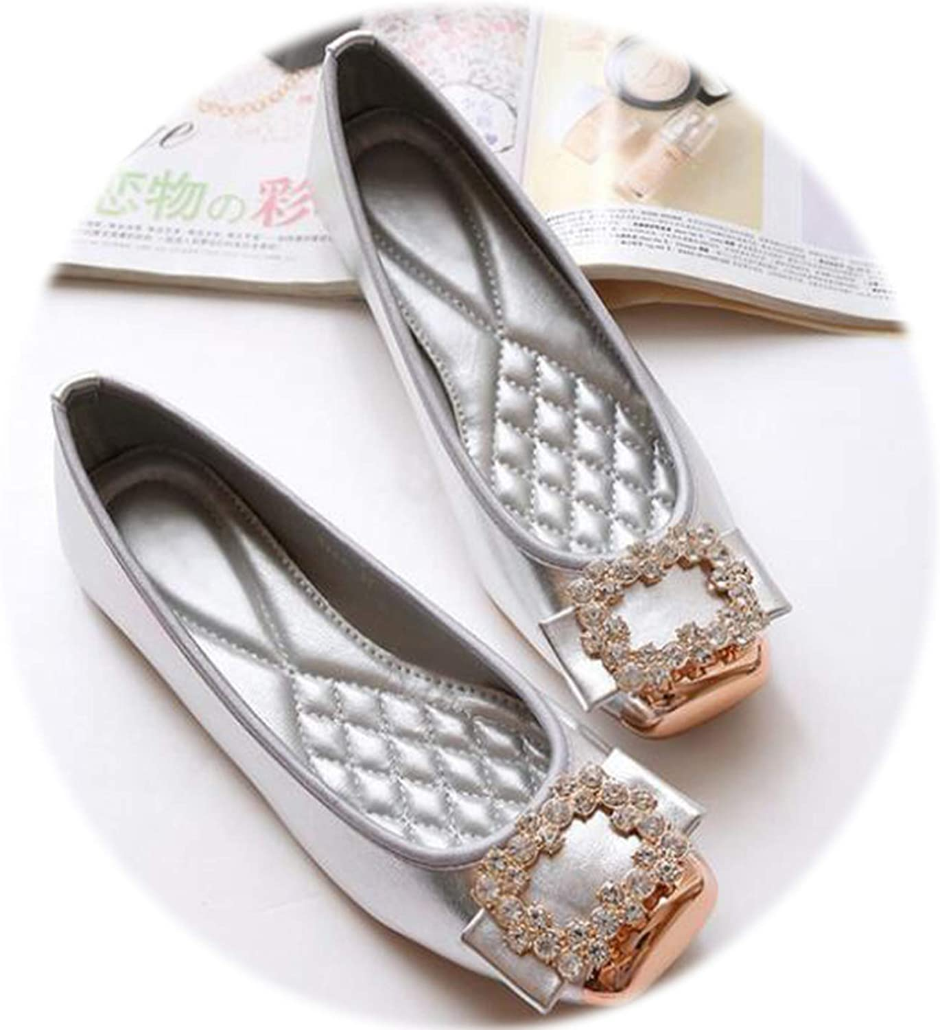 Awmerny Boots Sring Summer Casual shoes Women Flats Flat shoes Crystal Single shoes H589