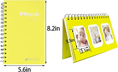 Golden State Art Pack of 2, Instax Frames Collection, Yellow Photo Album Book Style 60 Pocket for Fuijufilm Instax Mini 7S 8