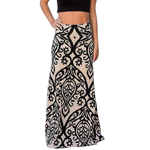 fbbb23df68 Yinggeli Women's Bohemian Print Long Maxi Skirt