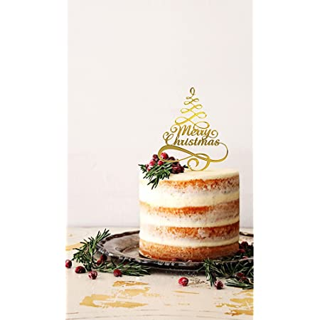 Gold Merry Christmas Cake Topper with pick