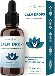 Calm Drops Drink Mix - Stress & Anxiety Relief Supplement for Kids & Adults - Mix in Liquid, Water or Juice - Relax, Focus...