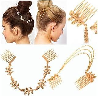HOMEYU® 2 Pcs Mode Dames Athéna Olive Branche Tassel Feuille Chaîne Clips Barrettes Bobby Broche Cheveux Clips Mariée Chap...