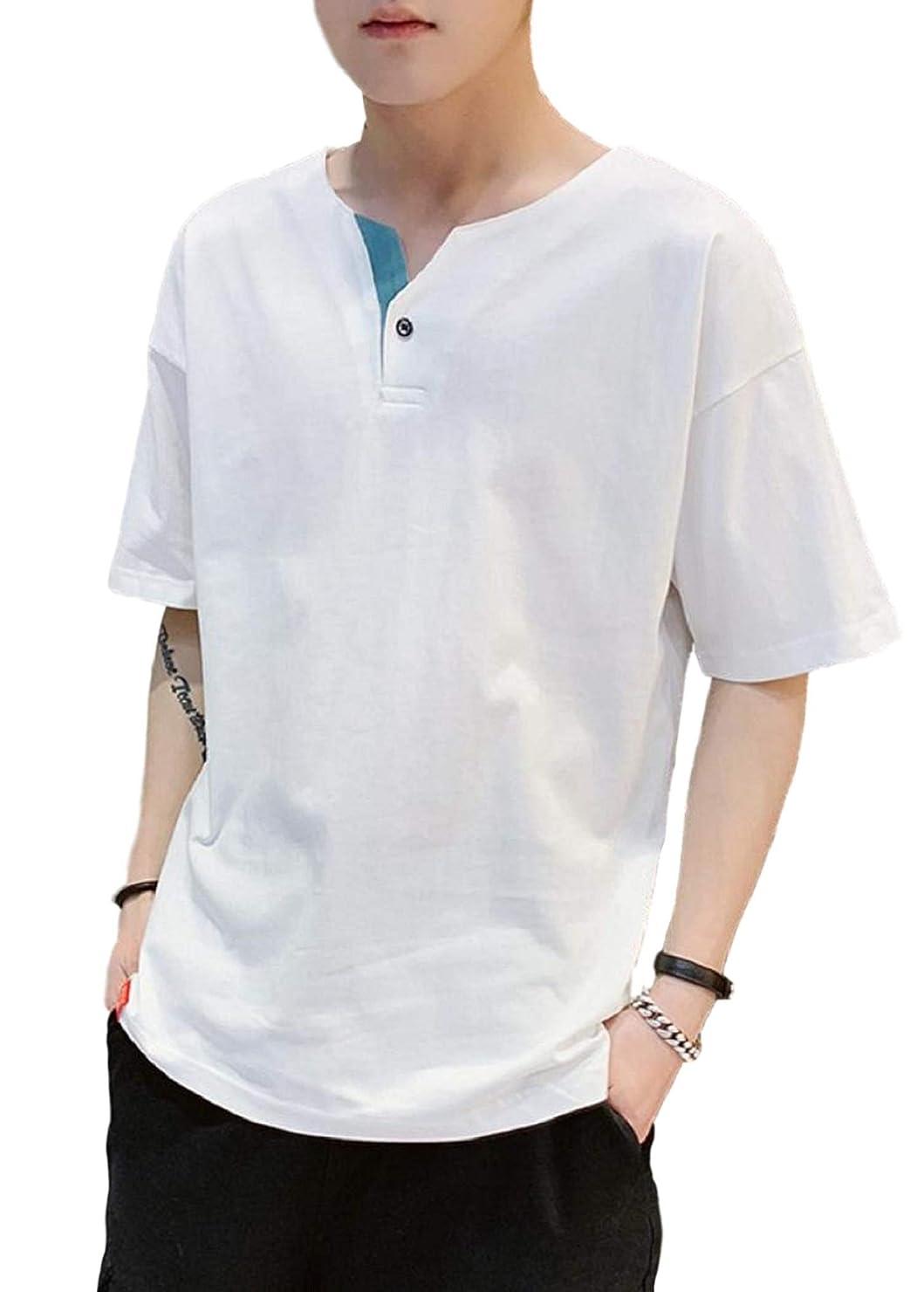 ピアノ復活気まぐれな[アルトコロニー] ヘンリーネック tシャツ フェイク ボタン 五分袖 半そで お洒落 シンプル カジュアル M ~ XL メンズ