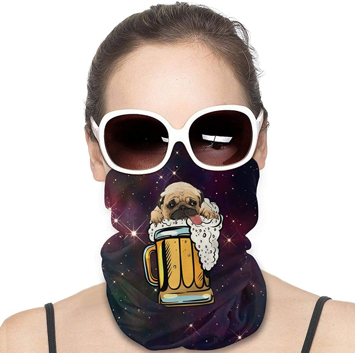 Headwear Face Mask Pug Dog Beer Drinking Party Funny Sports Headband Bandana Headwrap Neck Gaiter Scarf