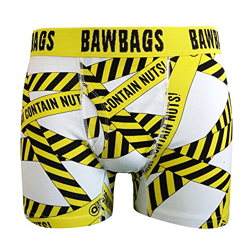 Bawbags Warning Boxer Shorts - White -XL