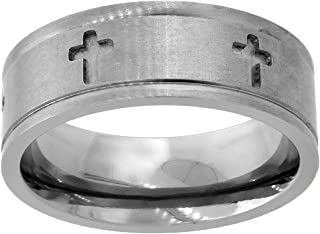 Saris and Things Titanium Black Ti with Sterling Silver Inlay 10mm Polished Band Ring 8 to 14 Size
