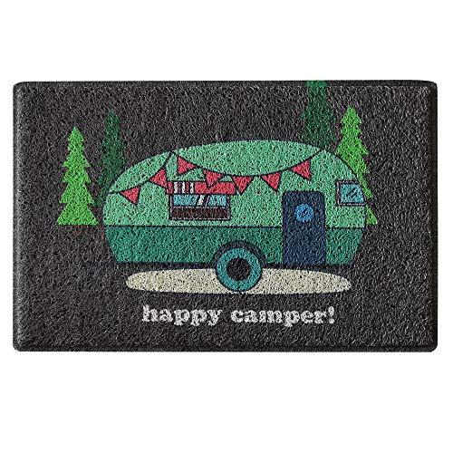 Aucuda Happy Camper Door Mat Welcome Camper Mat for Front Door, RV, Camper Trailer Indoor Outdoor,24' x 16',Traps Dirt and...