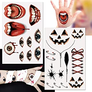 Halloween Real Paint Tattoo stickers Set of 2 sheets Temporary Tattoo stickers halloween fancy dress disguise water proof Japan Product for women and kids