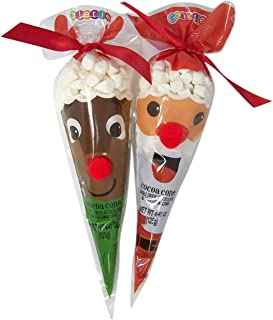 Santa Claus and Reindeer Design Hot Cocoa Mix Cones with Marshmallows Gift Set, 4.41 Ounce, Pack of 2