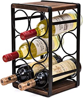 SODUKU Rustic Wood Countertop Wine Rack 6 Bottles No Need Assembly