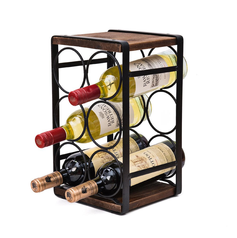 Soduku Rustic Wood Countertop Wine Rack 6 Bottles No Need Assembly Furniture Decor