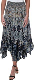 Free People Womens Roaming Wild Smocked Asymmetric Tiered Skirt