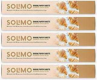 Amazon-merk: Solimo bakpapier - 38 cm x 42 cm - 5 rollen met elk 20 vellen (in totaal 100 vellen)
