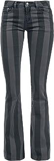 Gothicana by EMP Grace - Pantalones a Rayas Negro/Gris Mujer Pantalones de Tela Negro/Gris