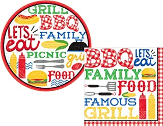 BBQ Picnic Party Supply Pack for 18 Guests - Bundle Includes Paper Dessert Plates & Napkins in a Summer Theme