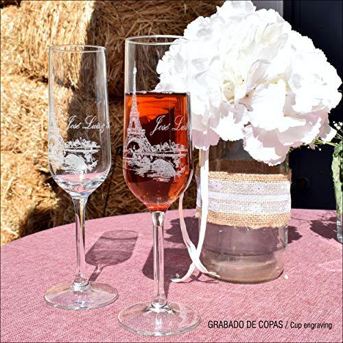 Leonardo 2 copas de champ/án Corazones con grabado l/áser gratuito con nombre y fecha