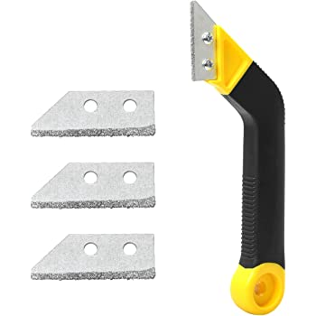 Coitak Tile Grout Saw Angled Grout Saw with 3 Pieces Extra Blades Replacement for Tile Cleaning