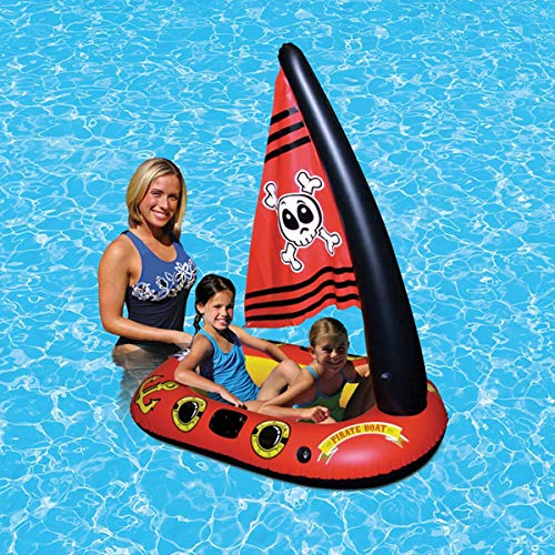 Uhruolo Summer Pool Inflatable Pirate Ship Floating Row, Summer Beach Water Toys Floaties for Kids