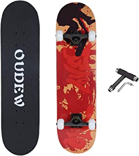 OUDEW Skateboard, Complete Skateboard 31''x 8'', 9 Layer Maple Double Kick Deck Concave Cruiser Trick Skateboards for Kids Boys Girls Youths Beginners.