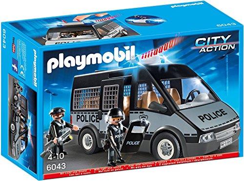 PLAYMOBIL 6043 - Polizei-Mannschaftswagen mit Licht und Sound x 4