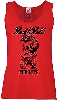 lepni.me Camisetas sin Mangas para Mujer Rock and Roll For Life - 1960s, 1970s, 1980s - Banda de Rock Vintage - Musicalmen...