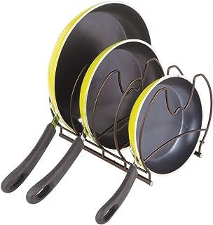 mDesign Organizadores de sartenes – Elegantes accesorios para muebles de cocina – Estanterías para cocina para organizar sartenes y tapas de ollas – color bronce