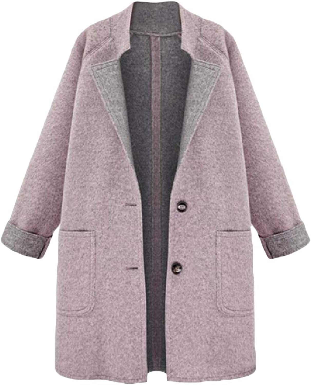 Vska Women's Turn Down Collar Fall & Winter Casual Woolen Overcoat Trench Coat