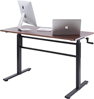 UNICOO - Crank Adjustable Height Standing Desk, Adjustable Sit to Stand up Desk,Home Office Computer Table, Height Adjustable Writing Desk, Study Table (Teak Top/Black Legs)
