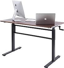 UNICOO - Crank Adjustable Height Standing Desk, Adjustable Sit to Stand up Desk,Home Office Computer Table, Height Adjustable Writing Desk, Study Table (Teak Top/Black Legs)
